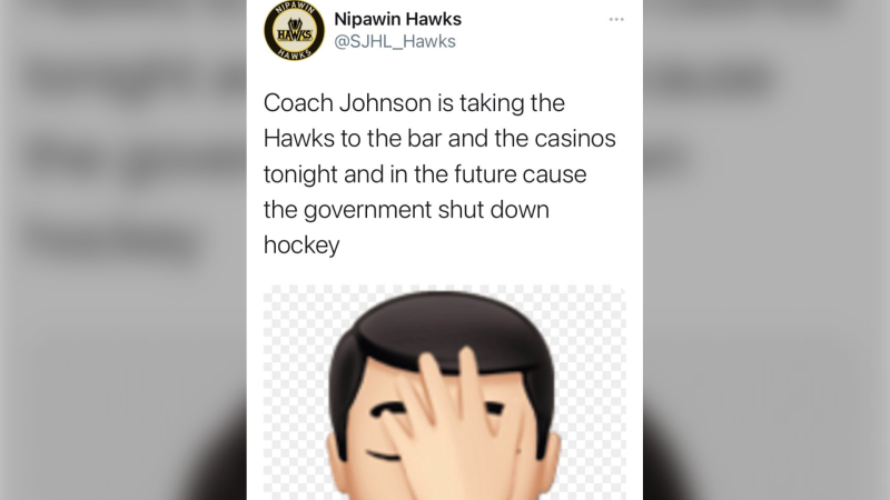 The Nipawin Hawks voiced its displeasure for new COVID-19 restrictions in a tweet on Nov. 25, 2020. (Twitter/SJHL_Hawks)