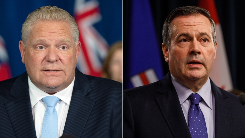 Ontario Premier Doug Ford and Alberta Premier Jason Kenney are seen in this composite image.