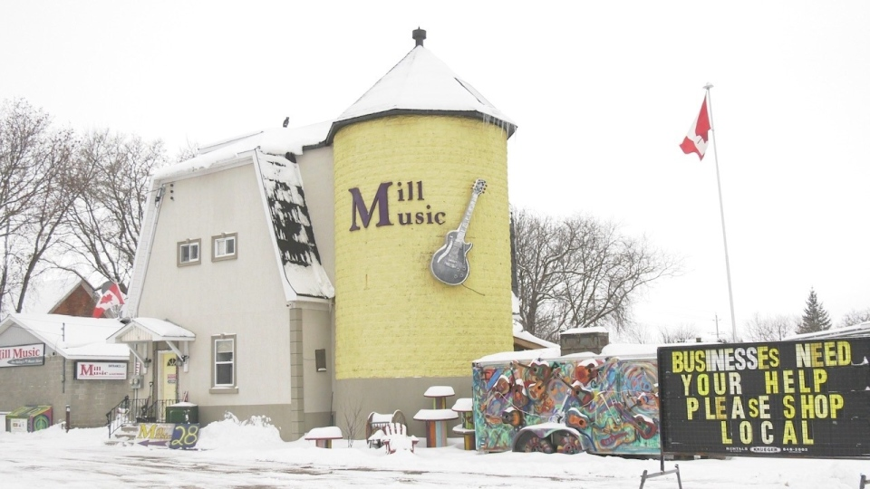 The owner of Mill Music in Renfrew is hoping to celebrate the flour mill's 100th anniversary with a facelift. (Dylan Dyson/CTV News Ottawa)