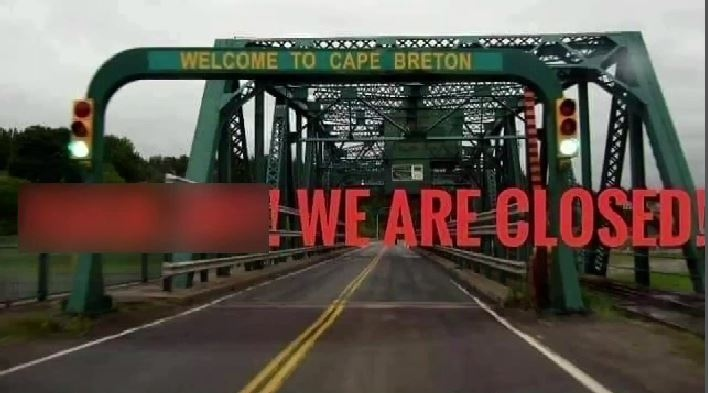 A meme has been circulating on social media making it clear the island isn't open for visiting, but Nova Scotia's premier says the caution about crossing the causeway goes both ways.