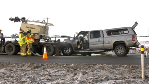 Two people were injured in a crash between a pickup truck and a semi on Manning Drive on Nov. 25, 2020.