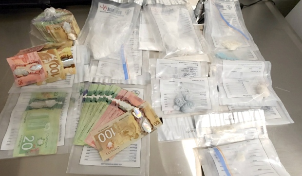 Ontario Provincial Police seized more than $20,000 in suspected cocaine, crack cocaine, meth and fentanyl in the raid of the William Street residence Nov. 19, as well as $6,500 in cash. (Supplied)