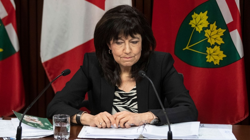 Ontario Auditor General Bonnie Lysyk holds a news conference at the Ontario Legislature in Toronto on Wednesday, November 25, 2020. THE CANADIAN PRESS/Chris Young