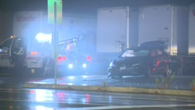 Regional Police were on scene of a single-vehicle crash in Kitchener Wednesday night.