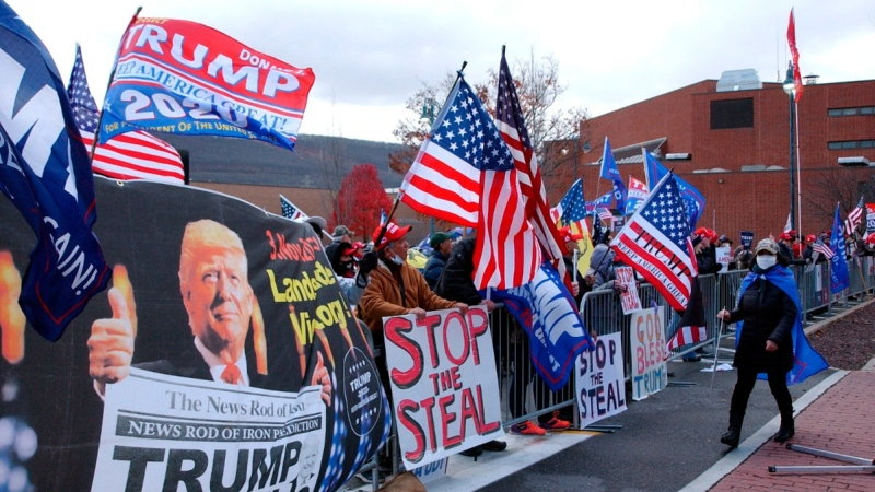 Approximately 100 Trump supporters across from the Federal Building in Williamsport, Pa., on Nov. 17, 2020. (John Beauge / The Patriot-News via AP)