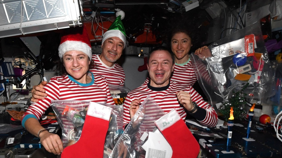 Jessica Meir, Luca Parmitano, Dr. Andrew Morgan and Christina Koch (left to right) celebrate Christmas in space -- in matching pajamas. (NASA)