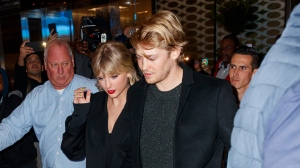 "Taylor Swift has revealed that her partner, Joe Alwyn, was a co-writer on two of her ""Folklore"" album tracks. (Jackson Lee/GC Images/Getty Images)"
