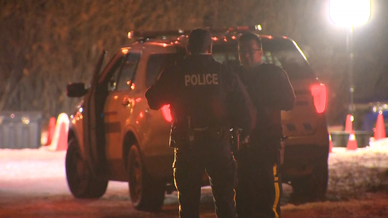 A large police presence near Delacour, Alta., east of Calgary, on Nov. 26