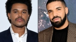 The Weeknd is not nominated for any Grammys this year and Drake is upset about it. (Getty Images/GP Images via Getty Images/CNN)