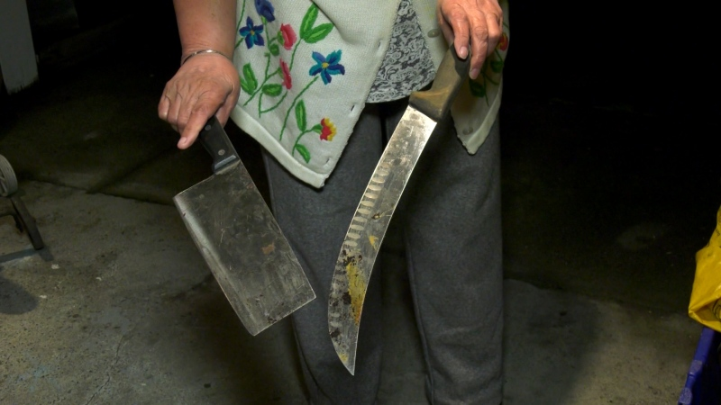 An East Vancouver woman says she found multiple knives in her yard around the time a suspicious man was arrested.