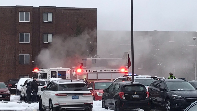 Ottawa Fire responded to a 911 call for a fire on Baseline Road on Thursday. (Photo courtesy: Twitter/OttFire