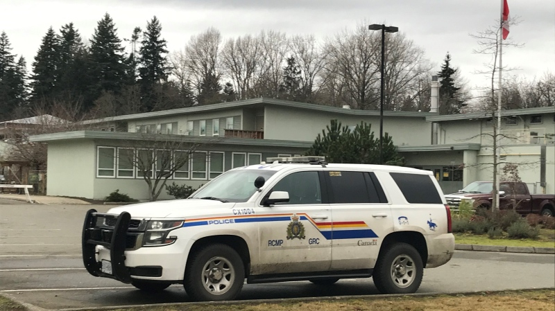 An RCMP vehicle outside Lake Trail Community Middle School on Thursday. (CTV News)
