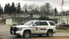 An RCMP vehicle outside Lake Trail Community Middle School on Thursday, Nov. 26. (CTV News)
