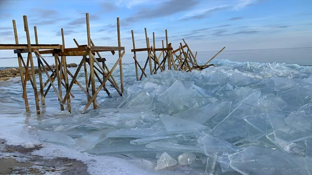 Ice blown in from Lake Winnipeg in Sandy Hook. Photo by Bryan Vandale.