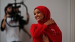Halima Aden poses during the shooting of a video in Buyukada, near Istanbul, on March 25, 2018. (Lefteris Pitarakis / AP)