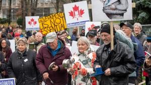 Anti-lockdown protesters gather at the Ontario Legislature in Toronto on Thursday November 26, 2020. THE CANADIAN PRESS/Frank Gunn