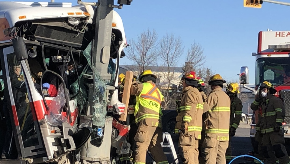 Crews were called to the scene of a crash in southeast Calgary at just after 11 a.m. on Thursday.