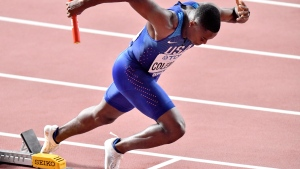 Christian Coleman of the United States starts at the men's 4x100 meter Relay at the World Athletics Championships in Doha, Qatar, Friday, Oct. 4, 2019. (AP Photo/Martin Meissner)