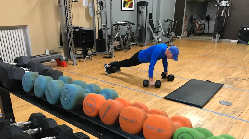 JC Mahler works out at Refine Fitness in Windsor, Ont. on Thursday, Nov. 26, 2020. (Michelle Maluske/CTV Windsor)