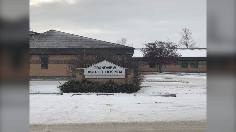 Grandview District Health Centre will be temporarily closed in order to send staff to help with a COVID-19 outbreak at the Grandview Personal Care Home. Community members rallied this morning to show their disappointment with the decision. (CTV News Photo Alison MacKinnon)