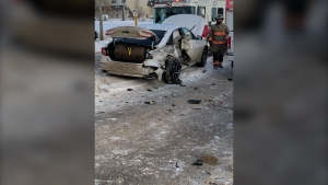 A three-vehicle crash occurred Thursday morning near Circle Drive and Airport Drive. (Saskatoon Fire Department)