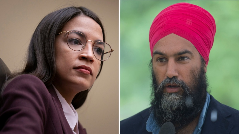 U.S. Rep. Alexandria Ocasio-Cortez and NDP Leader Jagmeet Singh are seen in this composite image.