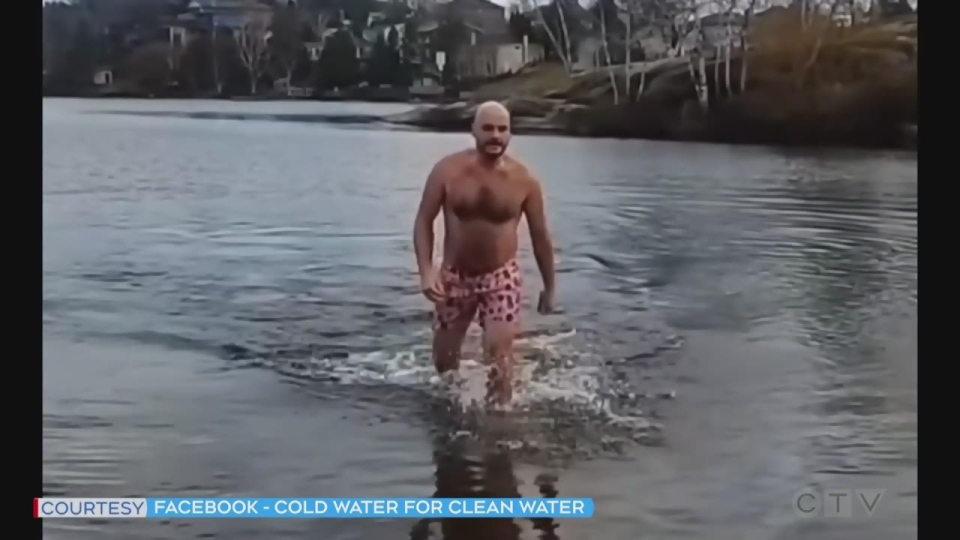 Sudbury man takes a frigid dip in Nepawhin Lake to raise money for those Indigenous communities in Canada without clean drinking water.