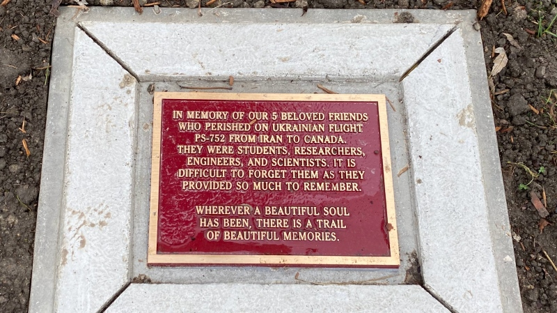 Commemorative plaque bearing the names of those lost in Flight PS752 as part of a new memorial in Windsor, Ont. (source Drew Dilkens/Twitter)