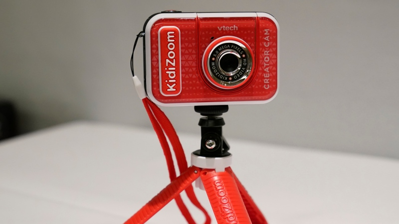 A KidiZoom Creator Cam by VTech is displayed at the Toy Fair, Thursday, Sept. 17, 2020, in New York. (AP Photo/Kathy Willens)