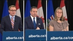 Health Minister Tyler Shandro, left, Premier Jason Kenney, and Chief Medical Officer of Health Dr. Deena Hinshaw.