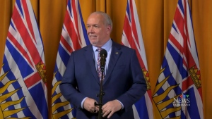 CTV News Vancouver asked John Horgan if he was considering asking for more than B.C.'s share of COVID-19 vaccines considering the swell in active cases relative to other provinces. (CTV)