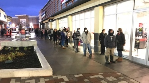 Shoppers lined up early at Tanger Outlets in Kanata for Black Friday sales. (Jim O'Grady/CTV News Ottawa)