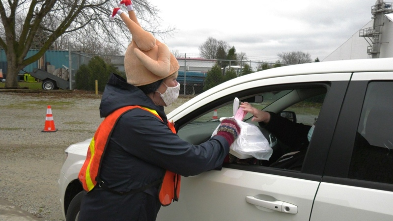 Turkey tradition continues with drive-thru option in Cottam, Ont., on Thursday, Nov. 26, 2020. (Chris Campbell / CTV Windsor)