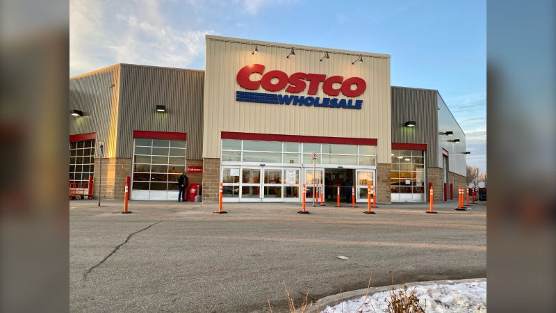 This Costco outlet on McGillvray Blvd. in Winnipeg was ticketed Nov.26 for violating a public health order by selling goods considered non-essential (Image: Jon Hendricks-CTV News)
