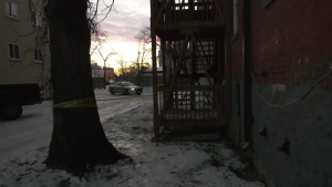 Winnipeg police are investigating an incident Friday morning at a building on College Ave. (CTV News Photo Ken Gabel)