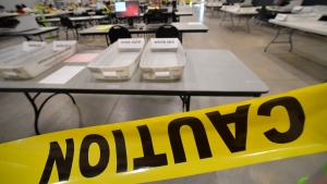 Cobb County Election officials prepare for a recount in Marietta, Ga., on Nov. 24, 2020. (Mike Stewart / AP)