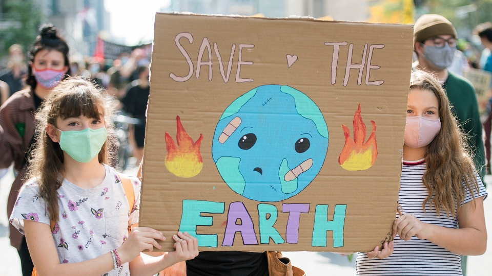 People attend a climate change protest in Montreal, Saturday, September 26, 2020. THE CANADIAN PRESS/Graham Hughes