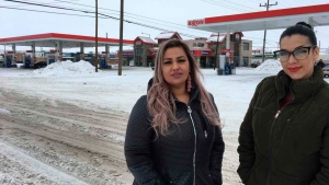 """This Jan. 23, 2019 photo released by ACLU of Montana, shows Martha """"Mimi"""" Hernandez, left, and Ana Suda in Havre, Mont. (Brooke Swaney/ACLU of Montana via AP)"""