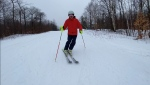 Mont Ste. Marie ski resort in Quebec is the first hill to open in the region. Owner Bob Sudermann is enjoying his first run of the season. Lac-Sainte-Marie, QC. Nov. 26, 2020. (Tyler Fleming/CTV News Ottawa)