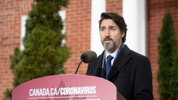 Prime Minister Justin Trudeau speaks during a bi-weekly news conference on the Covid pandemic in Ottawa, Friday, Nov. 27, 2020. THE CANADIAN PRESS/Adrian Wyld