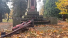 At least three statues were vandalized in the U.S. during protests on Thanksgiving.
