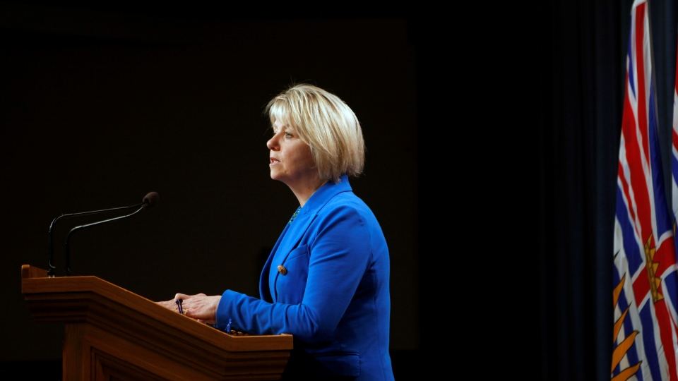 Provincial Health Officer Dr. Bonnie Henry provides the latest update on the COVID-19 pandemic in the province during a press conference in the press theatre at Legislature in Victoria on Thursday, Oct. 22, 2020. (Chad Hipolito / THE CANADIAN PRESS)