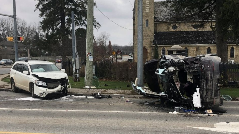 Two vehicle crash in Arva Ont. on Nov. 27, 2020. (Jim Knight/CTV London)