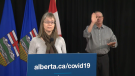 Dr. Deena Hinshaw speaking about the reported leak of secret recordings on Thursday, Nov. 26, 2020. (CTV News Edmonton)