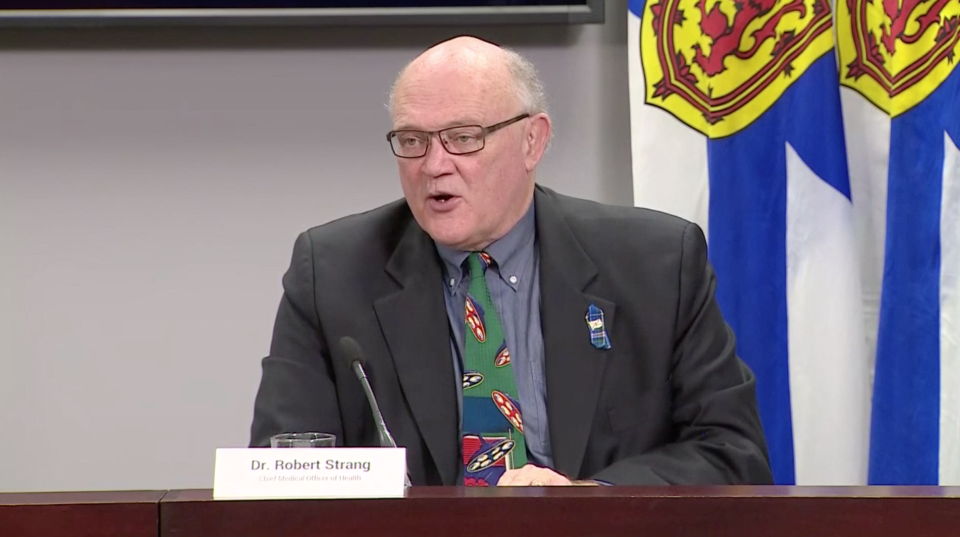 Nova Scotia's chief medical officer of health Dr. Robert Strang, provides an update on COVID-19 during a Nov. 27, 2020 news conference in Halifax.