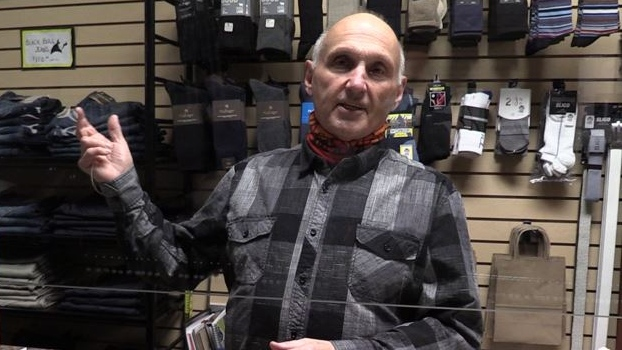 Bill Brittain of Winston's Men's Wear in Goderich Ont. on Nov. 27, 2020. (Scott Miller/CTV London)