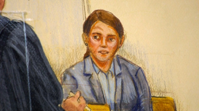 RCMP Sgt. Janice Vander Graaf testifies in November 2020 in B.C. Supreme Court (Sketch by Felicity Don)