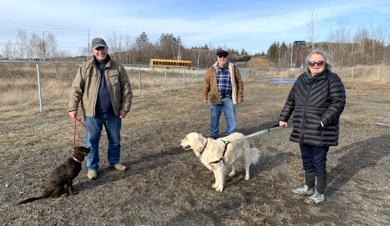York K9 Club board members Daryl Park, left, with Stella, Dan Skwarok, and Derry McTaggart with Bess. (Supplied)