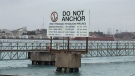 A Line 5 pipeline sign is seen in Sarnia, Ont. on Friday, Nov. 27, 2020. (Bryan Bicknell / CTV News)
