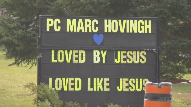 Mourners gathered in Mindemoya on Friday to pay their respects to Constable Marc Hovingh who was killed in the line of duty.
